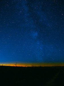 Dark starry sky and Milky Way